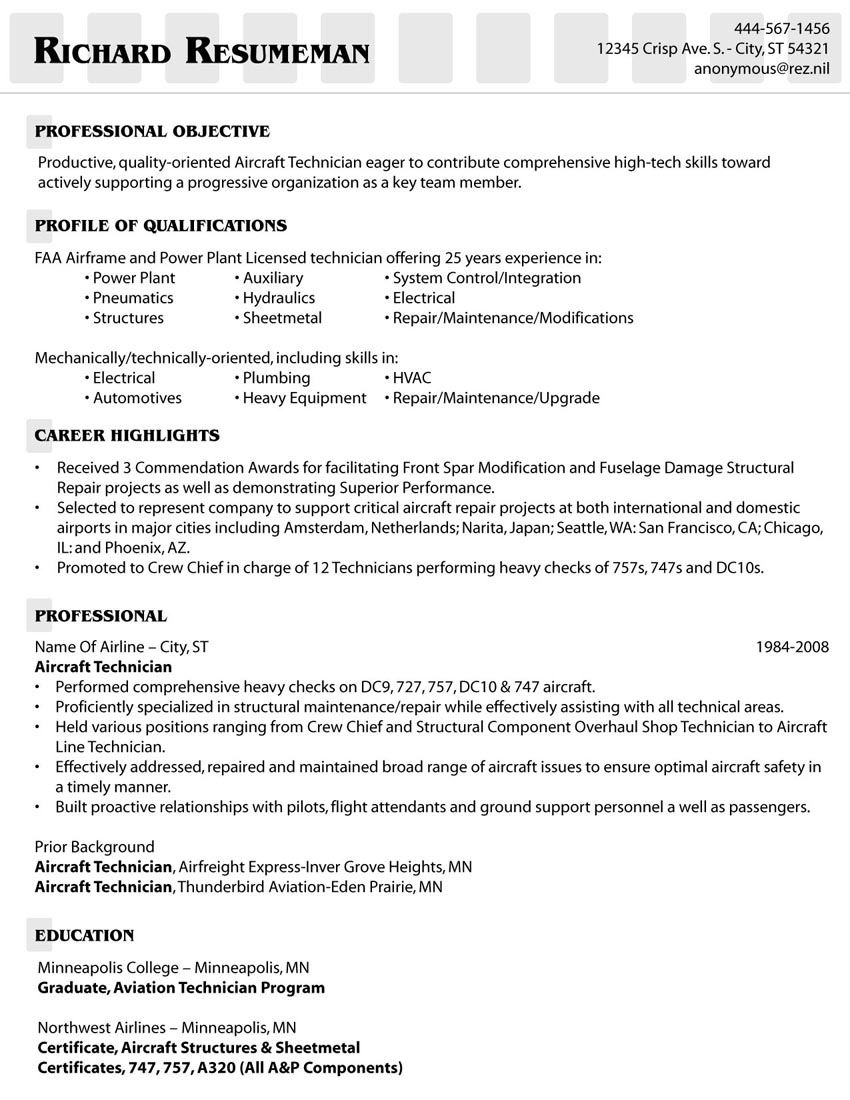 example of an aircraft technician 39 s resume